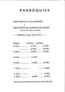 Horaris parròquia Sant Esteve