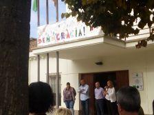 Parlament de l'alcaldessa Yolanda Lorenzo en la concentració de rebuig a la violència de la jornada del referèndum de l'1 d'octubre de 2017